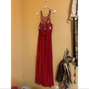 Gorgeous Long Dark Red Dress